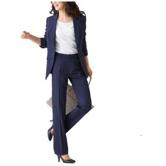 [nissen(ニッセン)] オフィススーツ パンツスーツ 上下 セット 洗える ストレッチ ロング丈 レディース 大きいサイズ ネイビー×ライトグレーストライプ 15号