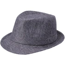 (ラボーグ)La Vogue オシャレ カジュアル 紳士用 中折れハット メンズ帽子 紳士ハット 無地タイプ 麻綿製 男女兼用 ユニセックス 58cm UV対策 シルバーグレー