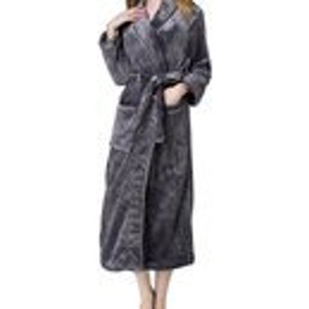 JIANGWEI バスローブ メンズ レディース ナイトガウン 部屋着 ルームウェア カップル ロング もこもこ あったか パジャマ お風呂 タオル地 吸水 速乾 長袖 ポケット付き 前開き おしゃれ 可愛い グレーS