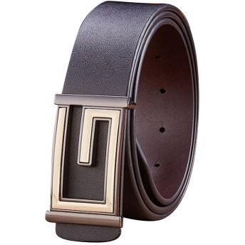Menschwear メンズ ベルト 本革 滑らかバックル スライド式 ロングベルト バックルベルト サイズ 調整可能 38mm ブラック