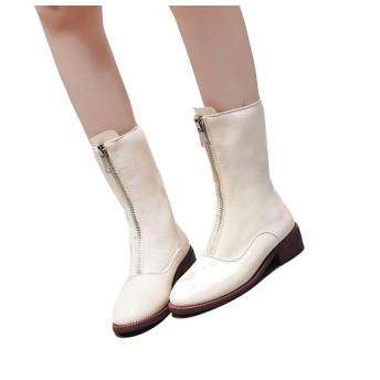 [幸福マーケット] フロントジップブーツ 短靴 レディース ハイカットブーツ ローヒール マーチン 秋冬ブーツ 革靴 赤 黒 白 太ヒール シック おしゃれ 柔らか 疲れない 滑り止め 防水 歩きやすい ファスナー 厚底 通勤 通学