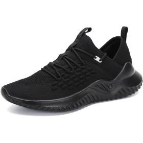 [ウェトリックス] ランニングシューズ メンズ スニーカー ウォーキングシューズ 男 トレーニング カジュアル ジョギングシューズ運動靴(E-ブラック 25.0cm)