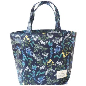 LC ミニトートバッグ サブバッグ ランチバッグ レディース 軽量 鞄/フローリスト(ネイビー))