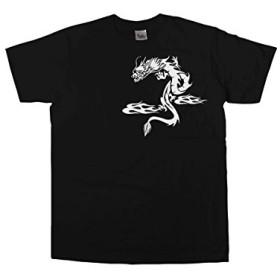 [幸服屋さん] トライバル柄 神龍(ドラゴン) Tシャツ(半袖) am39 S ブラック