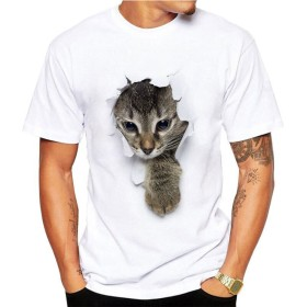 サクララ(Sakulala) Tシャツ メンズ 半袖 3D 猫 プリント ドライ素材 スポーツ 夏 吸水速乾 無地 父の日 アベツク おしゃれ シンプル 彼氏 プレゼント 通勤 通学 運動 日常用