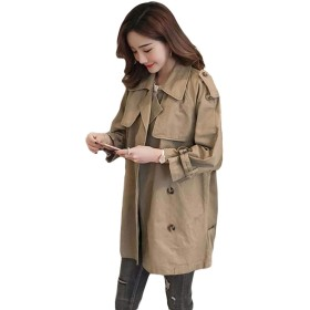 BeiBang(バイバン)トレンチコート レディース アウター ゆったり 韓国ファッション スプリングコート 長袖 ロングコート 薄手 春コート (8カーキ)