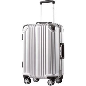 [クールライフ] COOLIFE スーツケース キャリーバッグ100%PCポリカーボネート ダブルキャスター 二年安心保証 機内持込 アルミフレーム人気色 超軽量 TSAローク (S サイズ(機内持ち込み), sliver)