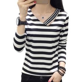 [美しいです] レディース Tシャツ 春 夏 ブラウス 七分袖 シースルー フォーマル シャツ (ストライプ, 2XL)