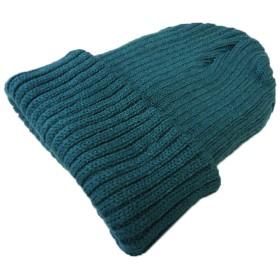 (JOIN・K)ニット帽 帽子 ワッチキャップ ざっくり リブ編み 無地 シンプル ニットキャップ グリーン