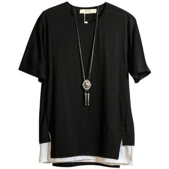 [Isome]Tシャツ 半袖 カットソー メンズtシャツ ゆったり おしゃれ 夏服 涼しいTシャツ ブラックM