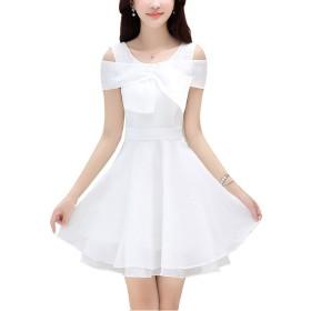 HAPPYJP ワンピース シフォンワンピース ドレス レディース 肩出し 優雅 通勤 上品 4color (S, ホワイト)