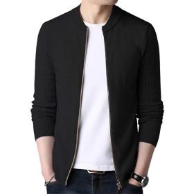 Ra&Do ニット カーディガン メンズ リブ編み 修身 長袖 ジッパー ニットジャケット 秋冬 R170 (XL, ブラック)