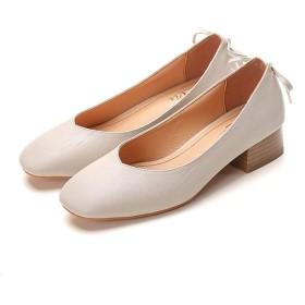 [MerryCo] レディース 靴 パンプス ぺたんこ ヒール チャンキーヒール 3.5cm バックリボン スクエアトゥ オシャレ フォーマルシューズ オフィス リクルート 就職 美脚 滑り止め 歩きやすい 疲れない 大きいサイズ