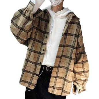 Bestmoodチェックシャツ メンズ ゆったり 厚手 長袖シャツ カジュアル 原宿系 韓国ファッション トップス ストリート 通学(Pカーキ)
