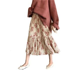 [YOUHA] ロングスカート マキシスカート 花柄 フレア マキシ ウエストゴム 裏地あり 体型カバー 大人 おしゃれ 韓国 ファッション レディ ース (ピンク, フリー)