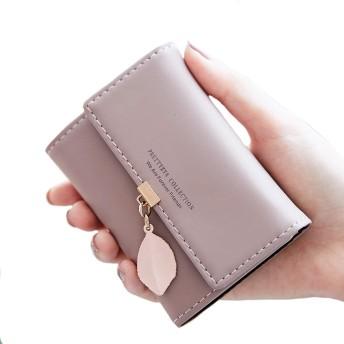 レデース 無地 PU 軽量 コインケース おしゃれ パスケース IDカード ミニ財布 財布 小銭入れ ボタン型 収納財布 二つ折り パタン3