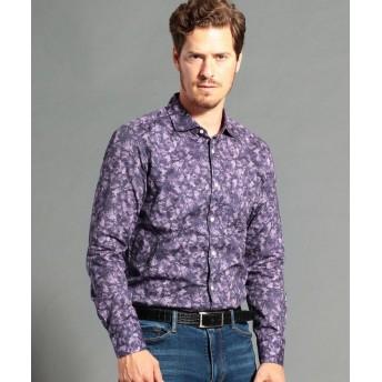 ムッシュニコル ボタニカルプリントセミワイドカラーシャツ メンズ 88ラベンダー 48(L) 【MONSIEUR NICOLE】