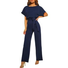 ベルトNY/XXLが付いている女性の半袖の再生スーツのクラブウエアまっすぐな足のジャンプスーツ