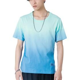 ローローLuoLuo 夏服 メンズ tシャツ グラデーション 半袖 大きいサイズ おしゃれ カットソー ゆったり カジュアル 綿 ブルー 2XL
