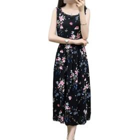 ZhongJue(ジュージェン)シフォンワンピース レディース スリム ロングワンピース ノースリーブ 花柄 ファッション マキシワンピース 快適 クルーネック ワンピース おしゃれ 大きいサイズ ボヘミアン風 夏(6A)