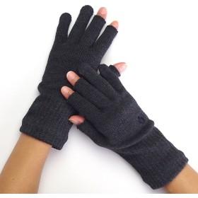 [841(ヤヨイ)] 指なし手袋 スマホ手袋 3本指 綿 日本製 【ハンドウォーマー 3フィンガー】 チャコールミックス L