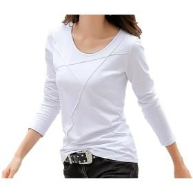 Joy Corn レディース 長袖 カットソー ロング Tシャツ パイピングデザイン 002