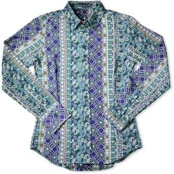 長袖シャツ ネイティブ柄 ペイズリー ペルシャ柄 レギュラーカラー ドレスシャツ 日本製 mens メンズ グリーン緑ブルー青 935080 LL