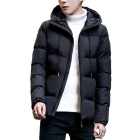 CEEN メンズ ダウンコート ダウンジャケット おしゃれ 暖かい 防寒防風 厚手 中綿 長袖 フード付き カジュアル 冬服 スリム 黒