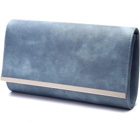 Life Innovation マットレザー パーティーバッグ クラッチバッグ バッグ レディース (Dusty Blue)