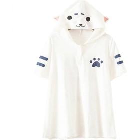 (ナンディン) nandin おしゃれ かわいい 猫 耳 半袖 Tシャツ フード パーカー トップス ティー シャツ レディース お洒落 可愛い フリー (白)
