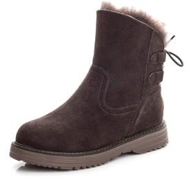 [Rayiisuy] レディース ムートンブーツ ショートブーティー 冬用ブーツ 前厚シンプル 太ヒール プラットフォーム ショートブーツ アンクルブーツ ハイヒール ブーツ 滑り止め カジュアル 保暖 裏起毛 綿雪靴 (24.0cm, ブラウン)