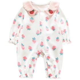 Feidoog ベビー服 長袖 ロンパース 前開き スナップボタン カバーオール 赤ちゃん 女の子 襟 パジャマ 綿 可愛い プレゼント イチゴ ホワイト 80