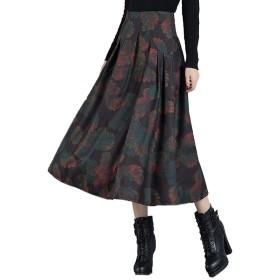 シロイワ スカート かわいい 冬 レディース 秋 冬 春 プリーツスカート 花柄 ロングスカート かわいい 総柄 体型カバー 着痩せ 通勤 韓国風 スカート あったか レディース ボトムス
