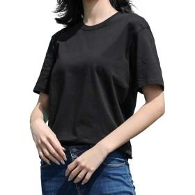 tシャツ レディース 半袖 クルーネック トップス 綿 夏 無地 大きいサイズ シンプル ゆったり かわいい 黒 白 ピンク オレンジ(S.ブラック)