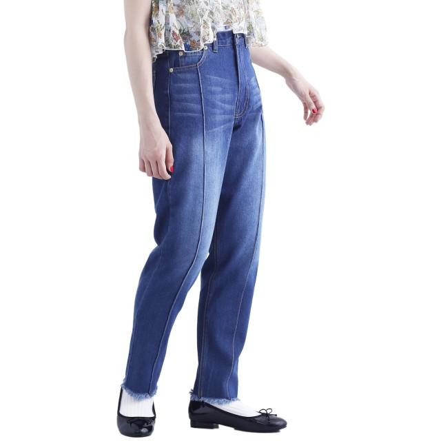 (メルロー) merlot デニムハイライズカットオフテーパードパンツ722-0527 818207220527 FREE ブルー