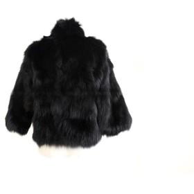 YEJIA FASHION レディース フェイクファーショール 着るストール ファーショール 暖か ボレロ パーティー  (M, ブラック)