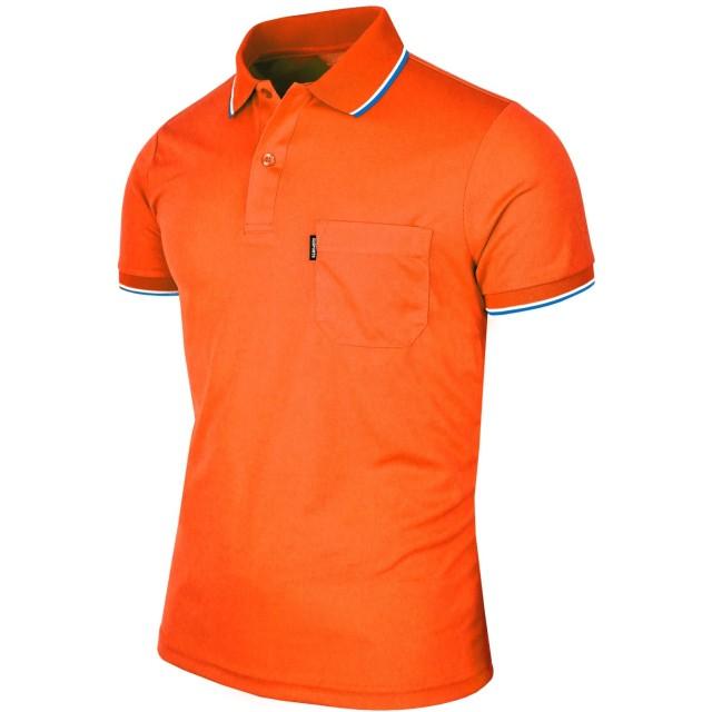 BCPOLOメンズポロシャツのDriフィットソリッドポロシャツアスレチック半袖ポロシャツ様々な色- Orange-XXXL
