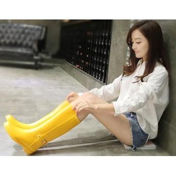 [マリア] レインブーツ レディース 長靴 軽量 厚底 ロング長 滑り止め 防水 韓国風 おしゃれ シンプル 雨 雪