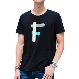 KTMOUW Tシャツ メンズ 半袖 カットソー 無地 クルーネック 夏 秋 カジュアル 大きいサイズ 通勤 通学 ゆったり 丸首 薄手 綿 快適 ブラック#F XL