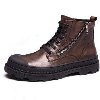 [ONE MAX] メンズ ブーツ 本革 レースアップ サイドジッパー ショートブーツ 靴 男 ビジネスブーツ 秋冬 防水 防滑 シューズ