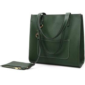 SBOYS(エスボーイズ) トートバッグの女性は、大容量無地ショルダーバッグ2WAYシンプルな女性のバッグ高級人気の通勤2点セット(緑)ハンドバッグ ワンサイズ グリーン