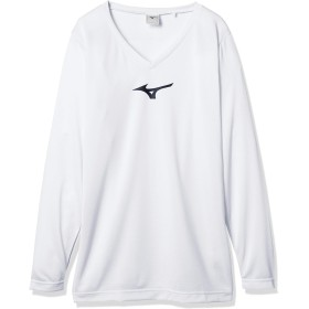 [Mizuno] サッカーウェア インナーロングスリーブ Vネック ジュニア P2MA8650 キッズ ホワイト×ブラック 日本 140 (日本サイズ140 相当)