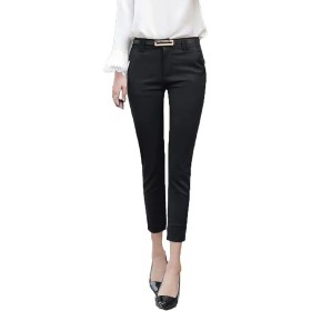 PASA テーパードパンツ レディース ロングパンツ スーツ パンツ スキニー パンツ 9分丈 カジュアル ビジネス ストレッチ パンツ 仕事 美脚 シンプル 大きいサイズ 全3色 ブラックXS