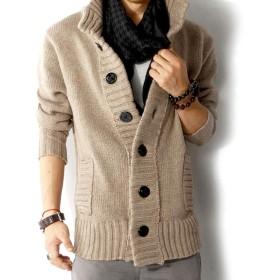 [GeBaoZhen]カーディガン メンズ 学生 ロングカーディガン ベージュ ニットカーディガン Vネック 立て襟 長袖 アウタージャケット ケーブルニット 秋用 トップス ニット セーター (XL)