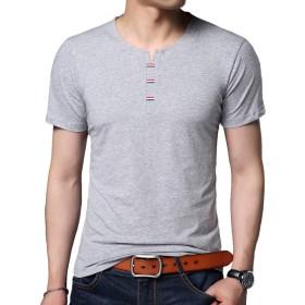 Yingqible メンズ ヘンリーネック クルーネック 丸首 Tシャツ カットソー 半袖 無地 スリム シンプル カジュアル 綿
