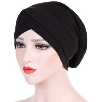 YueLian 伸縮性 ぼうし 医療帽子 帽子 シンプル ワッチキャップ ヘアアレンジ レディース ヘッドカバー(ブラック)