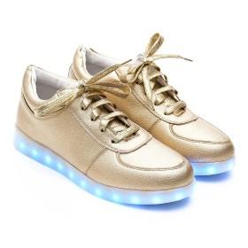 VEROMAN レディース メンズ 11色 LED シューズ 光る スニーカー USB充電式 ナイトランモデル (ゴールド, 22.5cm)