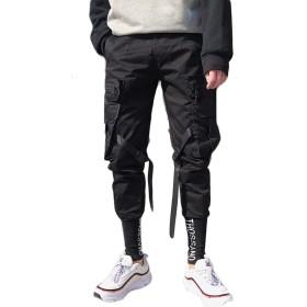 BSCOOLロングパンツ メンズ ゆったり ジョガーパンツ 黒 テーパードパンツ ストレート 原宿系 ダンス ファッション メンズパンツ(B黒)