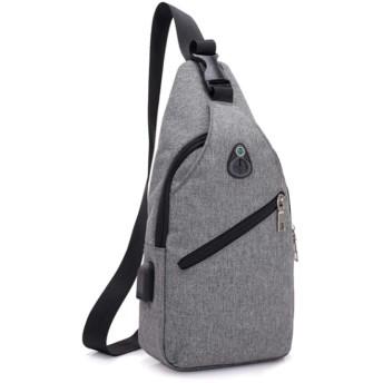 (アーケード) ARCADE バッグで携帯充電 USBポート搭載 ケーブル付 ショルダーバッグ メンズ ボディーバッグ 【Aタイプ】グレー
