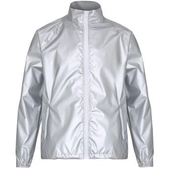 (トゥー・セブン・エイト・シックス) 2786 メンズ コントラストカラー 軽量ウィンドブレーカー マックレインコート ジャケット 上着 オーバー アウトドア アウター 男性用 (L) (シルバー(メタリック)/ホワイト)